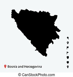 High detailed vector map of Bosnia and Herzegovina with...