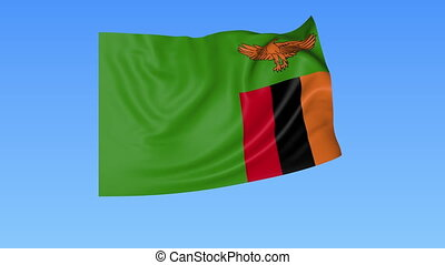Waving flag of Zambia, seamless loop. Exact size, blue...