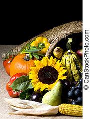 Cornucopia - A autumn horn of plenty. Cornucopia full of...