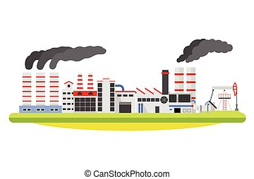 Industrial factory landscape. Buildings with smoke of the pipe. Industry concept. Vector isolated on white illustration.