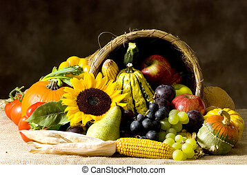 Cornucopia - A autumn horn of plenty Cornucopia full of...