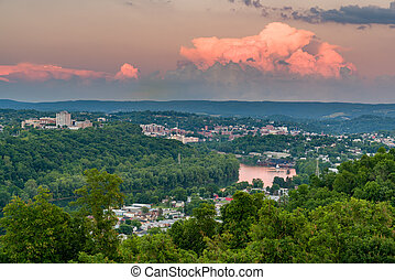 City of Morgantown in West Virginia - Sunset skyline and...