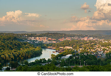 City of Morgantown in West Virginia - Panoramic skyline and...