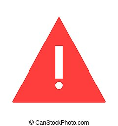 triangle caution icon - simple flat design red triangle with...