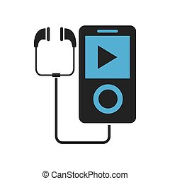 music player with earphones icon