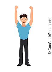 man with raised arms icon