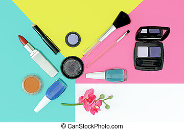 Cosmetics set with copy space - Flat lay composition with...