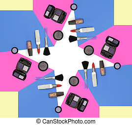Cosmetics frame in white background - Flat lay composition...