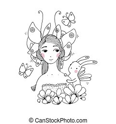 Beautiful young girl, butterflies and hare on white...
