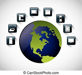 Appliances icon set Internet of things design vector graphic...
