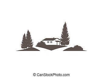 vector icon with cottage, grounds, trees and street -...