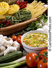 Fresh Soup 3 - A bowl of fresh soup surrounded by all the...