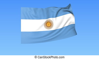 Waving flag of Argentina, seamless loop. Exact size, blue...
