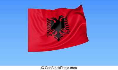 Waving flag of Albania, seamless loop Exact size, blue...