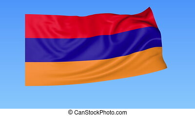 Waving flag of Armenia, seamless loop. Exact size, blue...