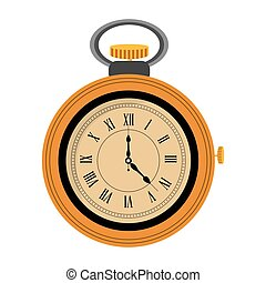 pocket watch icon - yellow flat design pocket watch icon...