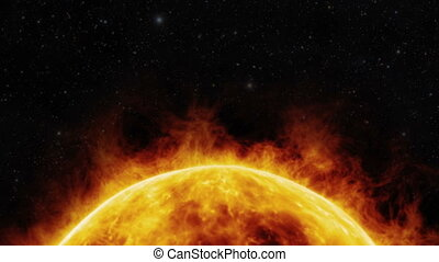 Sun surface with solar flares 3D animation