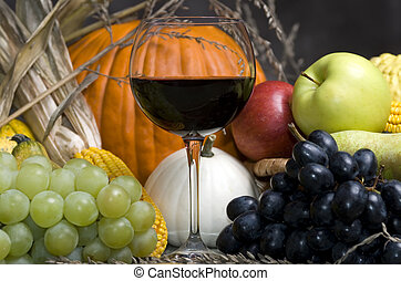 Harvest Wine - A glass of red wine with Autumn fruit