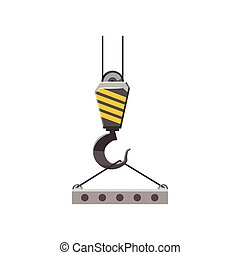Industrial hook with reinforced concrete slab icon - icon in...