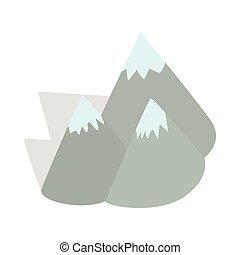 moutains, Suède, icône, isométrique, 3D, Style
