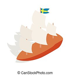 Ship with Swedish flag icon, isometric 3d style - icon in...