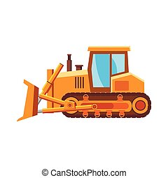 Orange bulldozer icon, cartoon style - icon in cartoon style...