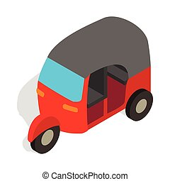 Red tuk tuk icon in isometric 3d style - icon in isometric...