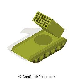 Multiple launch rocket system icon - icon in isometric 3d...