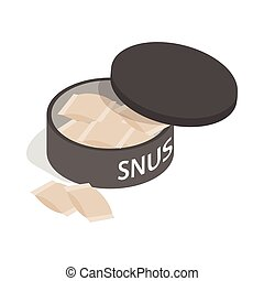 Swedish snus, chewing tobacco icon - icon in isometric 3d...