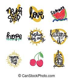 Color inspirational vector illustration set, motivational...