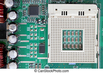 Socket electronics components on PC computer mainboard -...