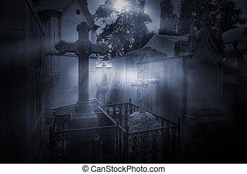 Full moon cemetery - Old european cemetery in a foggy full...