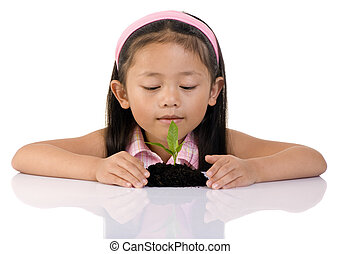 New Life - A young girl looks at a small seedling that has...