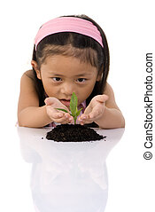 New Life - A young girl examines a small seedling new life,...