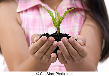 New Life - A young girl holds a new seedling ready to plant.