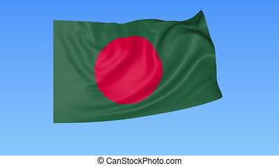 Waving flag of Bangladesh, seamless loop. Exact size, blue...