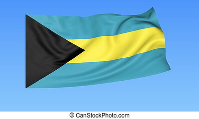 Waving flag of Bahamas, seamless loop. Exact size, blue background. Part of all countries set. 4K ProRes with alpha