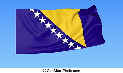 Waving flag of Bosnia and Herzegovina, seamless loop. Exact size, blue background. Part of all countries set. 4K