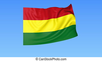 Waving flag of Bolivia, seamless loop. Exact size, blue background. Part of all countries set. 4K ProRes with alpha