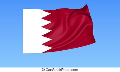 Waving flag of Bahrain, seamless loop Exact size, blue...