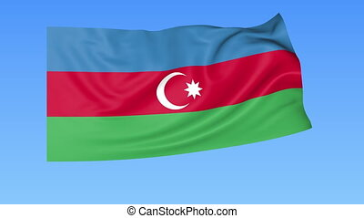 Waving flag of Azerbaijan, seamless loop Exact size, blue...