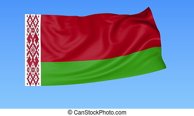 Waving flag of Belarus, seamless loop. Exact size, blue...