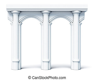 Architectural objects columns arches isolated on white...
