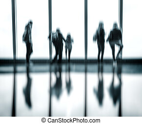 Blurred image of people in the lobby - Abstract blurred...