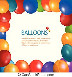 Balloons frame and sample text - Party Balloons Frame Over...