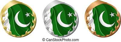 Medals Pakistan - A gold, silver and bronze medal with the...