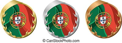 Medals Portugal - A gold, silver and bronze medal with the...