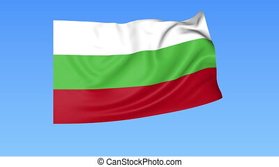 Waving flag of Bulgaria, seamless loop. Exact size, blue background. Part of all countries set. 4K ProRes with alpha