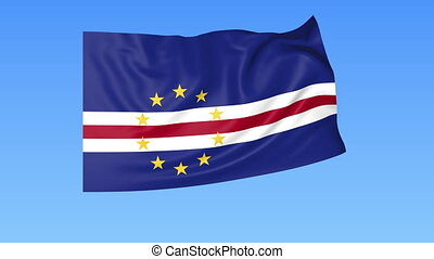 Waving flag of Cabo Verde, seamless loop. Exact size, blue...