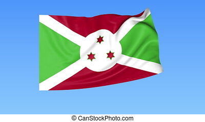 Waving flag of Burundi, seamless loop. Exact size, blue...